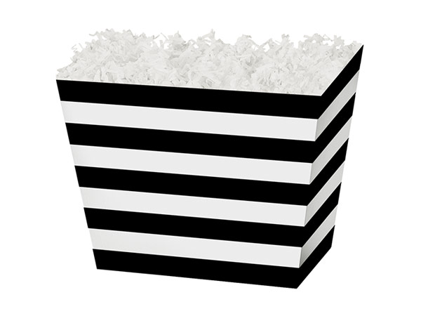 Small Black & White Stripes Angled Basket Box 6-3/4 x 4-1/2 x 5""
