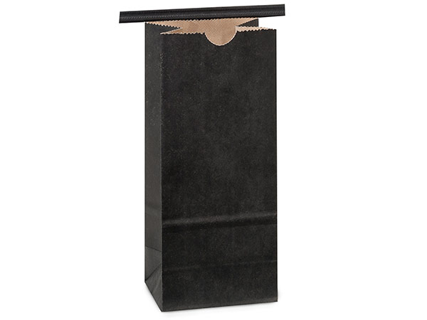 "500 1/2 lb Black Tin Tie Coffee Bag 3-3/8""x2-1/2""x7-3/4"""
