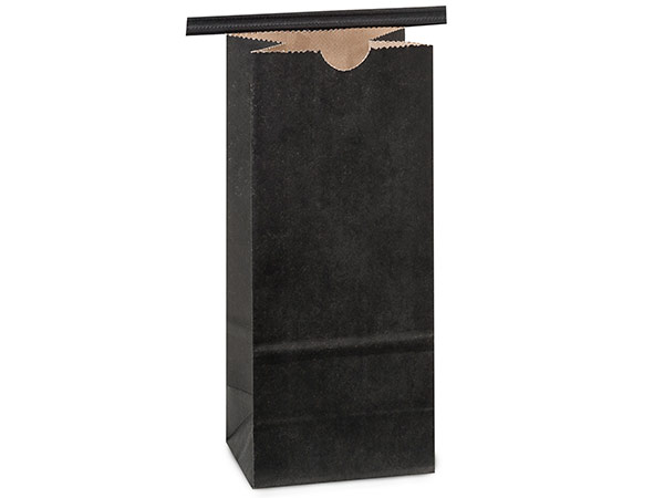 "100 1/2 lb Black Tin Tie Coffee Bag 3-3/8""x2-1/2""x7-3/4"""