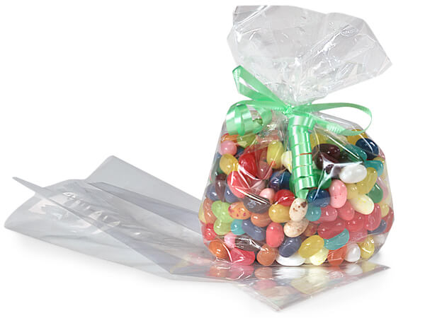 """CELLOPHANE CRIMPED GUSSET BAGS 9/"""" x 3/"""" SWEETS GIFTS CRAFTS"""