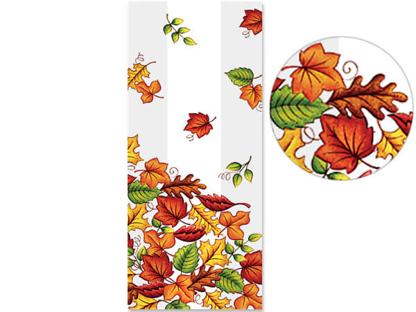 "Leaf Pile Cello Bags, 3.5x2x7.5"", 100 Pack"