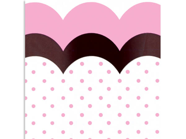 """Flounce Chocolate and Pink Cello Bags,4x2x9"""", 100 Pack"""