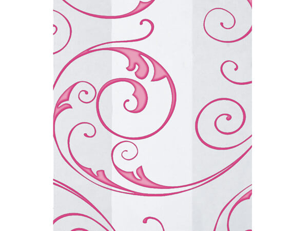 "Jewel Swirl Frosted Pink Cello Bags, 4x2x9"", 100 Pack"