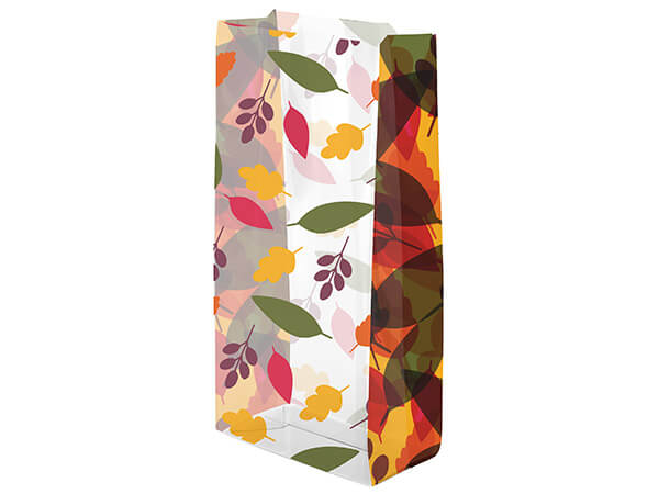 """Leaves on Leaves Cello Bags, 4x2x9"""", 100 Pack"""