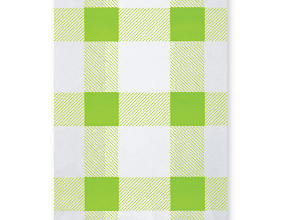 "Spring Green Gingham Cello Bags, 4x2x9"", 100 Pack"