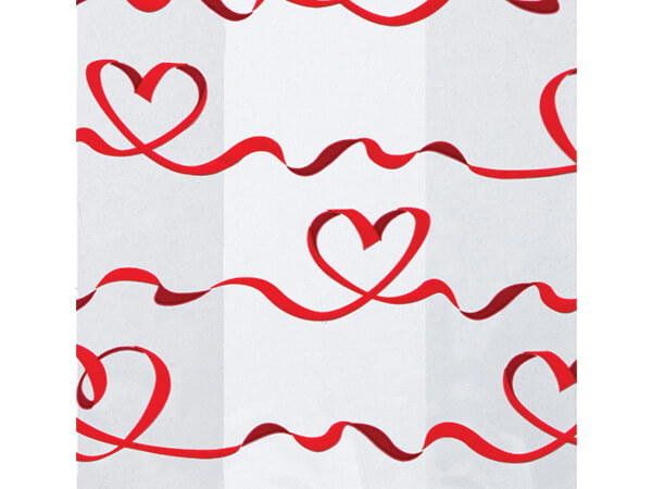 """Red Satin Hearts Cello Bags, 4x2x9"""", 100 Pack"""