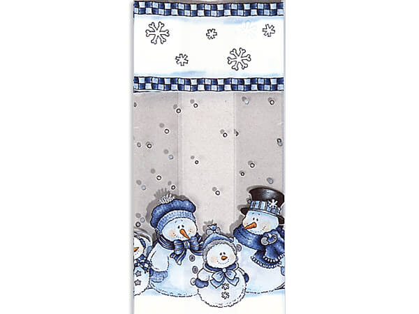 "Snowman Kin Cello Bags, 4x2x9"", 100 Pack"
