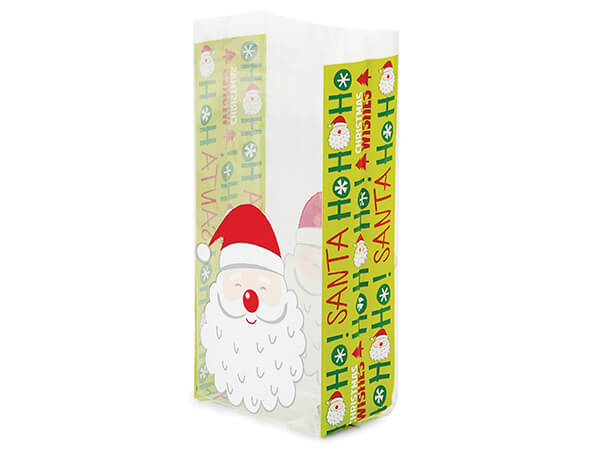 """Wishes for Santa Cellophane Treat Bags, 4x2x9"""", 100 Pack"""