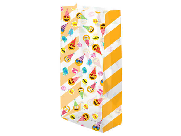 "Birthday Emoji's Cello Treat Bags, 5x3x11"", 100 Pack"