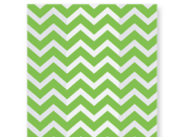 "Chevron Green Cello Bags, 5x3x11"", 100 Pack"