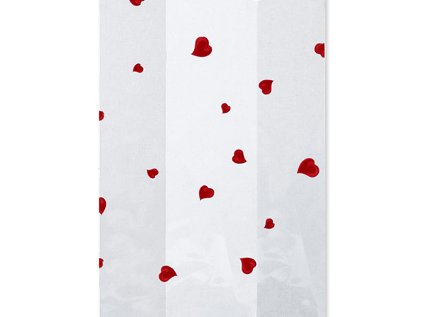 "Hearts A Flutter Cello Bags, 5x3x11"", 100 Pack"