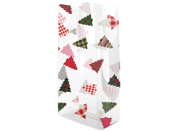 "Plaid Trees Cello Bags, 5x3x11"", 100 Pack"