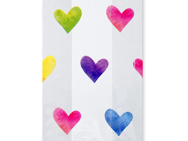 "Watercolor Hearts Cello Bags, 5x3x11"", 100 Pack"