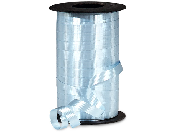 "Light Blue Curling Ribbon 3/8""x250 yds"