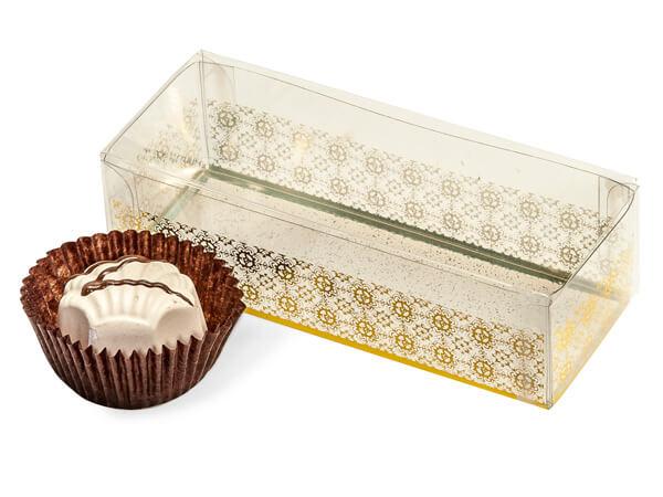 "Gold Geneva Print 2 Piece Candy Boxes, 4x1.5x1"""