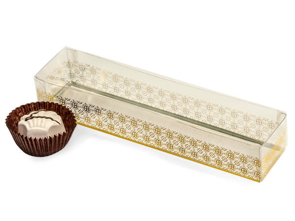 Gold Geneva Print 2 Piece Candy Boxes, 6.5x1.25x1""