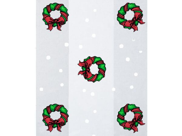 "Holiday Wreath Cello Bags, 6x3.25x13.5"", 100 Pack"
