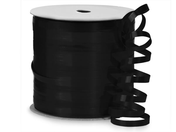 "Black High Gloss Curling Ribbon, 3/16""x250 yards"