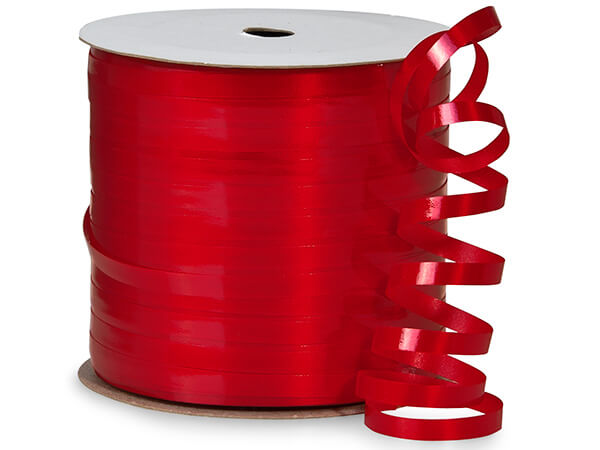 "Hot Red High Gloss Curling Ribbon, 3/16""x250 yards"