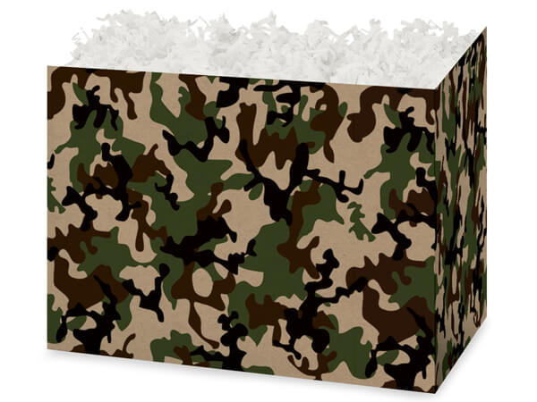 Large Camo Kraft Basket Boxes 10-1/4x6x7-1/2""