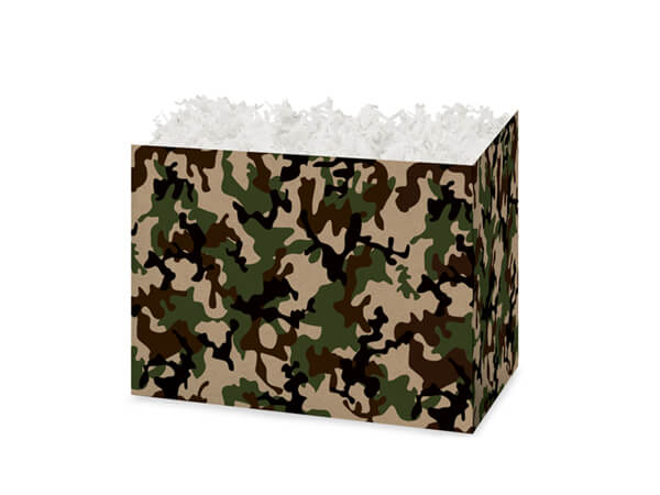 Small Camo Kraft Basket Boxes 6-3/4x4x5""
