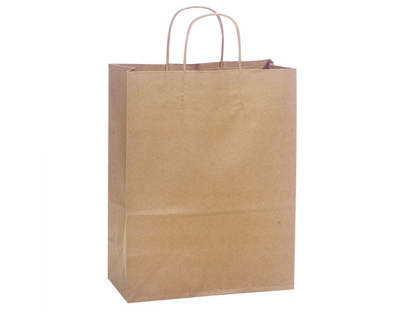 "Natural Brown Kraft Shopping Bags Carrier 10x5x13"", 250 Pack"