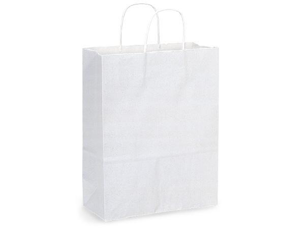 "Carrier White Kraft Paper Bags 250 Pk 10x5x13"""