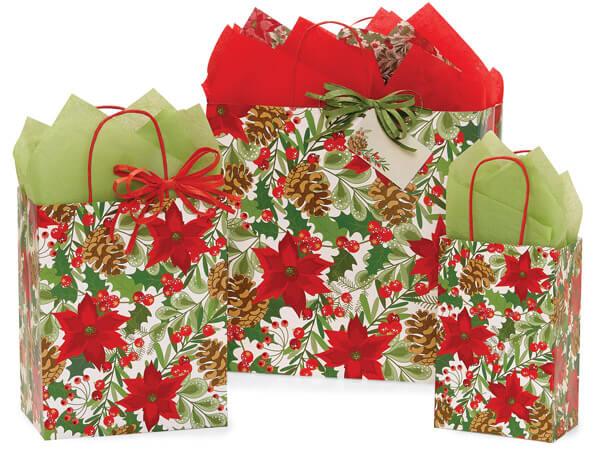 Christmas Botanicals Paper Shopping Bag Assortment, 125 Pack