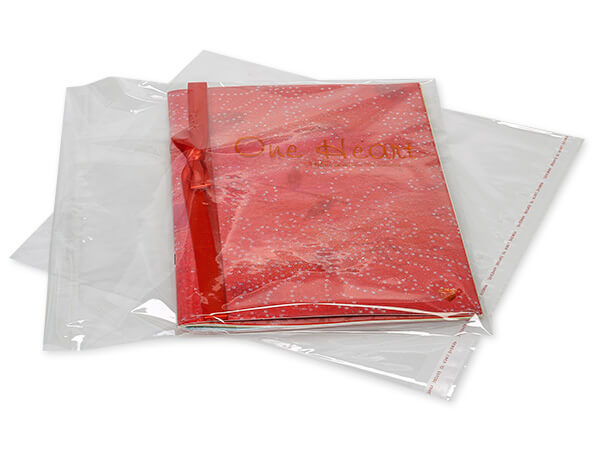 "Clear Tape Resealable Cello Bags, 12.25x12.25"", 100 Pack"