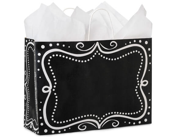 """Vogue Chalkboard Borders Recycled 250 16x6x12"""" Paper Bags"""
