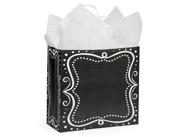 "Joey Chalkboard Borders Recycled 25 Pk 10x5x10"" Paper Bags"