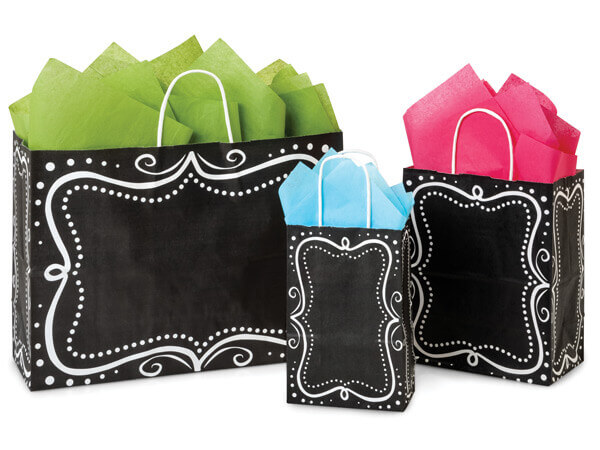 Chalkboard Borders Recycled Paper Bags, Small 25 Pack Assortment
