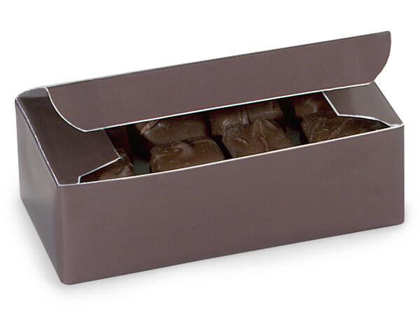 """Chocolate 1/2 lb Candy Boxes, 5.5x2.75x1.75"""", 10 Pack"""
