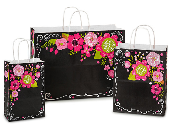 Chalkboard Flowers Paper Shopping Bags