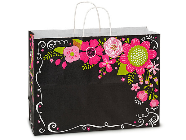 Vogue Chalkboard Flowers Paper Bags 250 16x6x12""