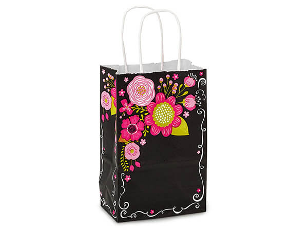 Rose Chalkboard Flowers White Kraft Bags 25 Pk 5-1/2x3-1/4x8-3/8""