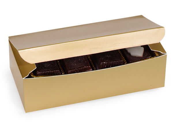"Gold 1 lb Candy Boxes, 7x3.5x2"", 10 Pack"