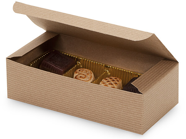 "Kraft Pinstripe 1 lb Candy Boxes, 7x3.5x2"", 100 Pack"