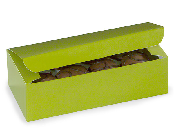 "Leaf Green 1 lb Candy Boxes, 7x3.5x2"", 10 Pack"