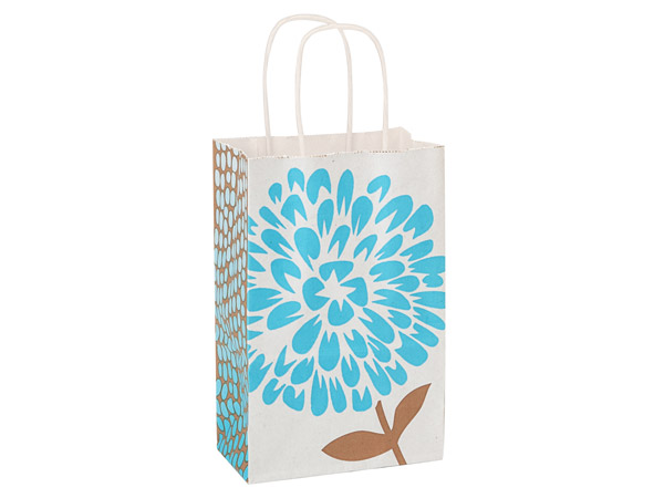 Rose Coastal Blooms White Kraft Paper Bags 250 5-1/2x3-1/4x8-3/8""