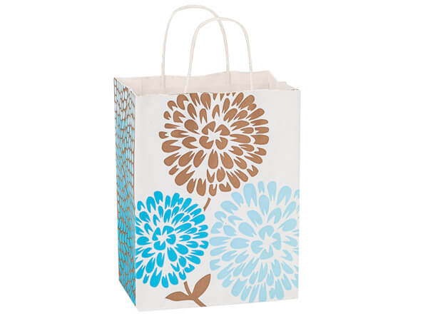 Cub Coastal Blooms White Kraft Bags 25 Pk 8x4-3/4x10-1/4""