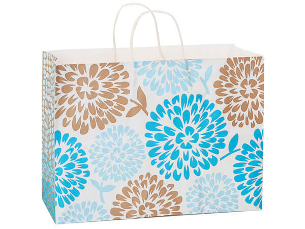 Vogue Coastal Blooms White Kraft Paper Bags 25 Pk 16x6x12""