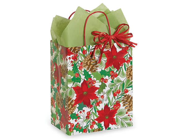 "Christmas Botanicals Shopping Bags, Cub, 8x4.75x10"", 25 Pack"