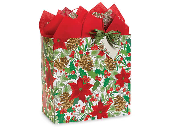 """Christmas Botanicals Shopping Bags, Filly, 13x7x13"""", 25 Pack"""