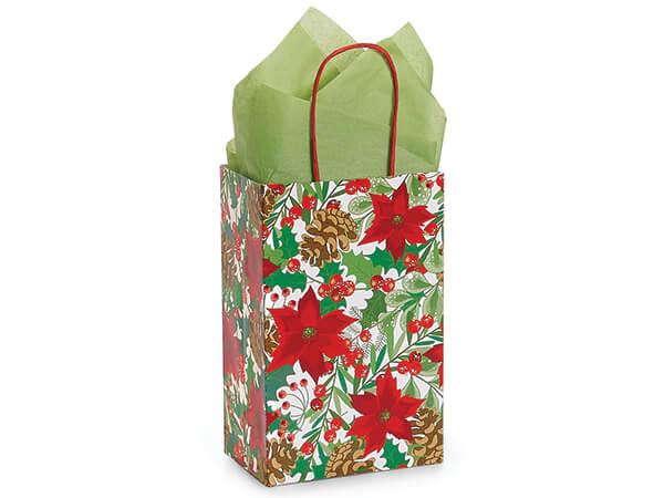 "Christmas Botanicals Shopping Bags, Rose, 5.25x3.50x8.25"", 25 Pack"
