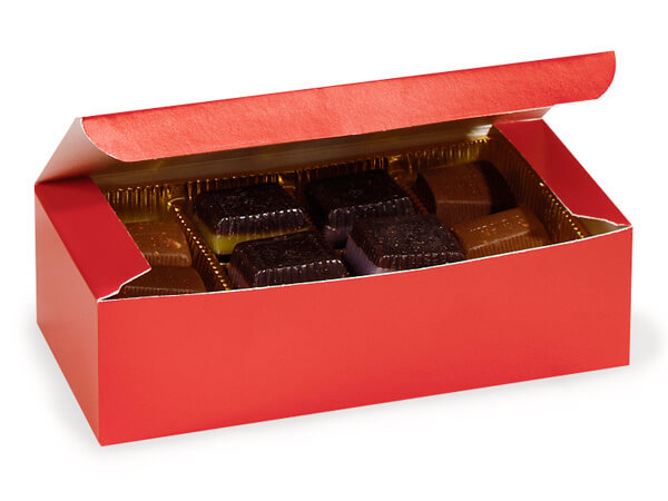 "Red 1 lb. Candy Boxes, 7x3.5x2"", 10 Pack"