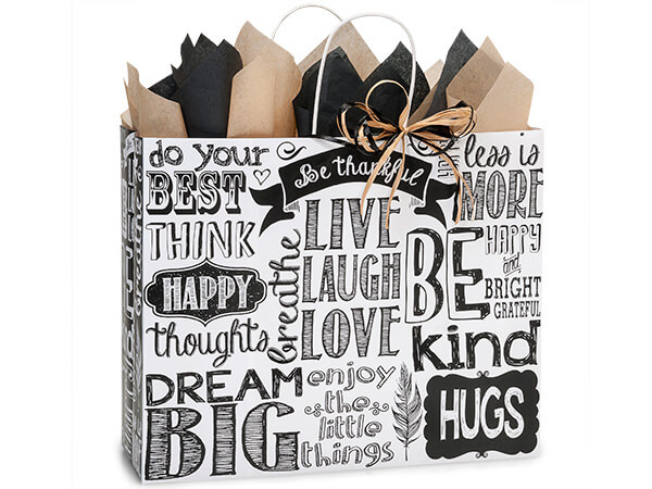 "Chalkboard Sentiment Recycled Paper Bags, Vogue 16x6x12"", 250 Pack"