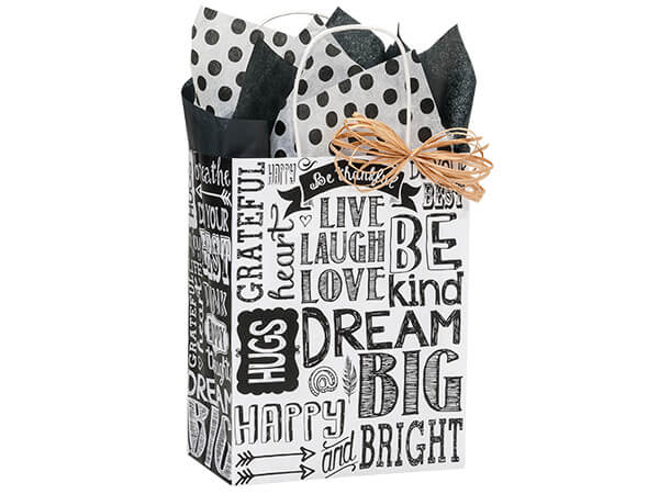 """Chalkboard Sentiment Recycled Paper Bags, Cub 8x4.75x10.25"""", 25 Pack"""