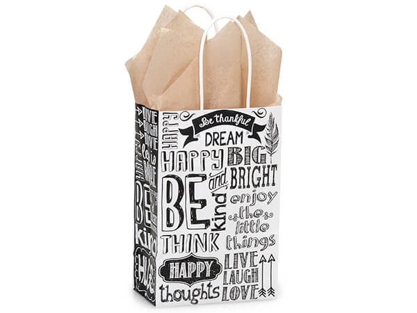 "Chalkboard Sentiment Recycled Paper Bags, Rose 5.5x3.25x8.5"", 25 Pack"