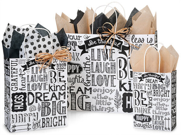 Chalkboard Sentiment Recycled Paper Bags, Small 25 Pack Assortment